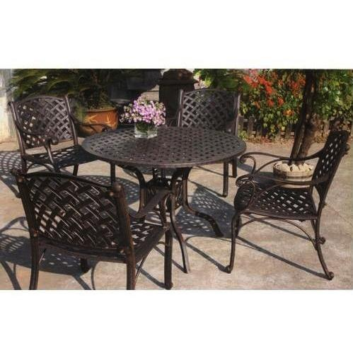 Darlee Nassau Cast Aluminum Patio Dining Set With Cushions - 42 Inch Round