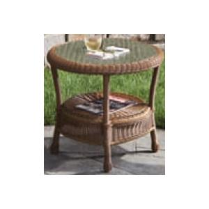 Alfresco Home Sand Dune Round Side Table With Recessed Glass Top - Honey Bear