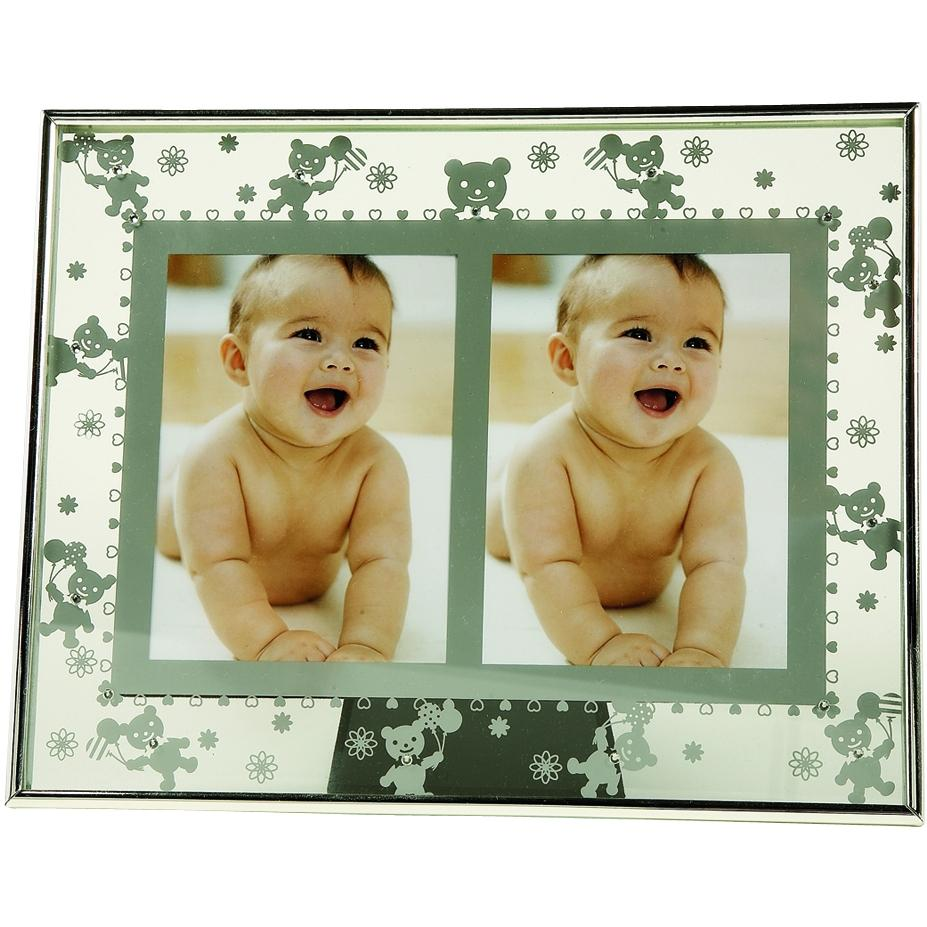 Elegant Baby Silver-plated Double 3x5 Photo Frame - Teddy Bear