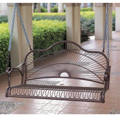 International Caravan Sun Ray Iron Porch Swing - Bronze