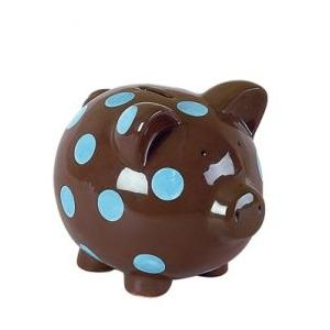 Elegant Baby Classic Piggy Bank - Blue/Brown Dot