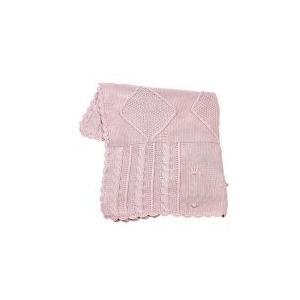 Elegant Baby Fisherman Cable Knit Baby Blanket - Pastel Pink 2566290