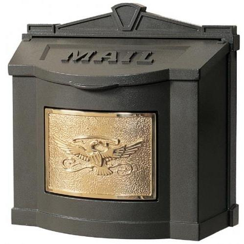 Wall Mount Series Mailbox W/ Eagle Accent - Bronze W/ Polished Brass