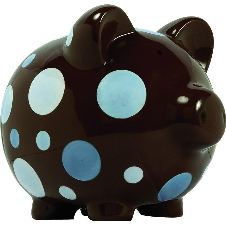 Elegant Baby Classic Piggy Bank - Blue/Brown Multi-Dot