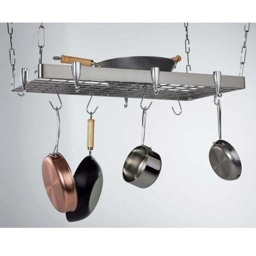 Concept Housewares CP40905 Stainless Steel Rectangular Ceiling Kitchen Pot Rack