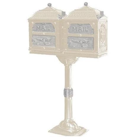 Classic Series Double Mount High Security Locking Mailbox W/ Pedestal - Almond W/ Satin Nickel