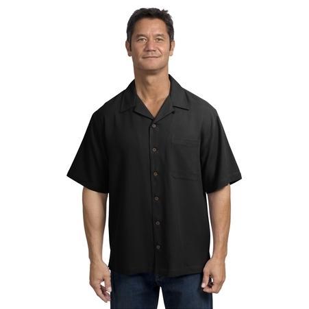 Port Authority Signature Silk Blend Camp Shirt 3XL - Black