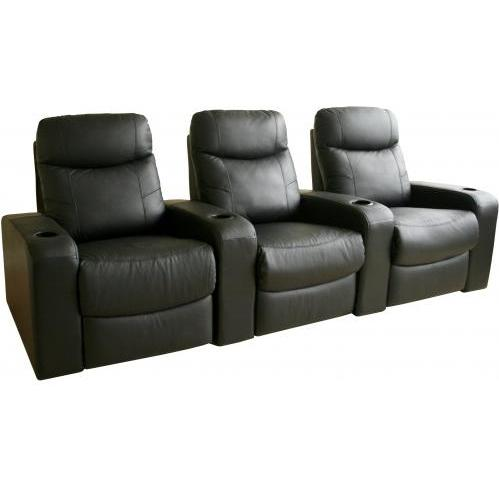 Talyessin Leather Home Theater Recliner Set Of Three InBlack