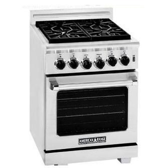 American Range ARR-244 24 Inch Natural Gas Range With 4 Burners - Stainless Steel