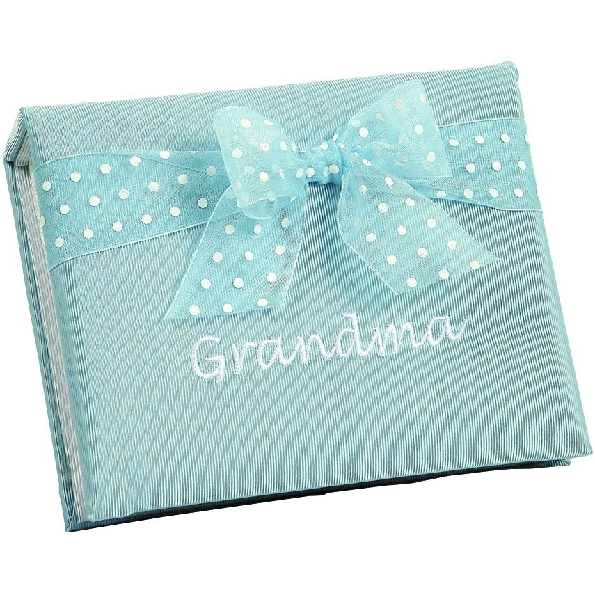 Elegant Baby Embroidered Photo Brag Book - Grandma Blue