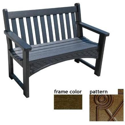 Eagle One Recycled Plastic 4 Foot Heritage Bench Diamond Pattern - Brown