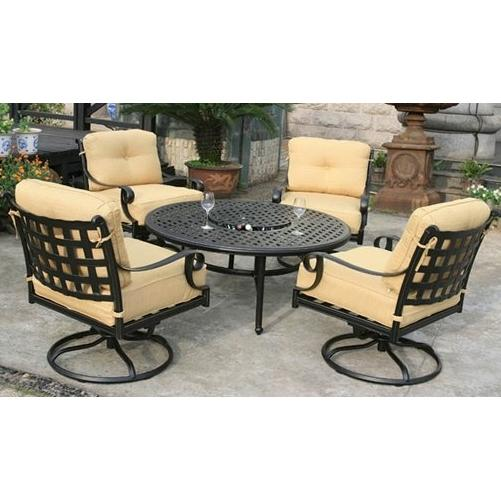Alfresco Home Chateau 52 Inch Round Chat Table Set - Antique Topaz