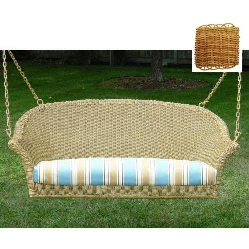 north cape naples resin wicker porch swing honey - Wicker Porch Swing