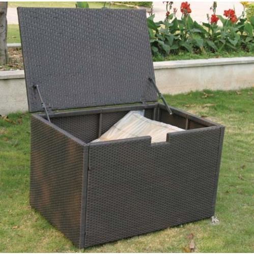 Alfresco Home Vento Small Wicker Outdoor Storage Box, Rectangular - Java