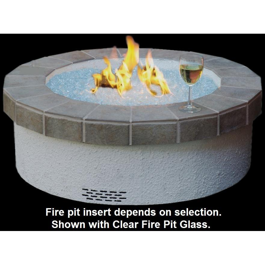 Peterson Outdoor Campfyre 34 Inch Propane Gas Manual Safety Pilot Fire Pit Package With Granite Tile Ring And Black Glass