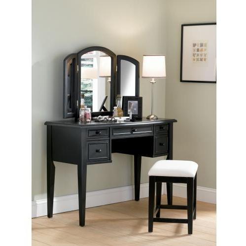 Powell Furniture - Antique Black With Sand Through Terra Cotta Vanity, Mirror & Bench - 502-290