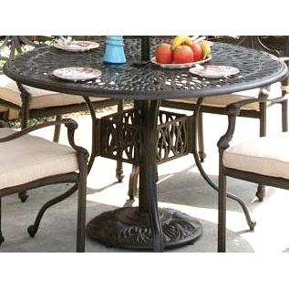 Alfresco Home Kaleidoscope 48 Inch Round Dining Table With Umbrella Hole - Antique Wine