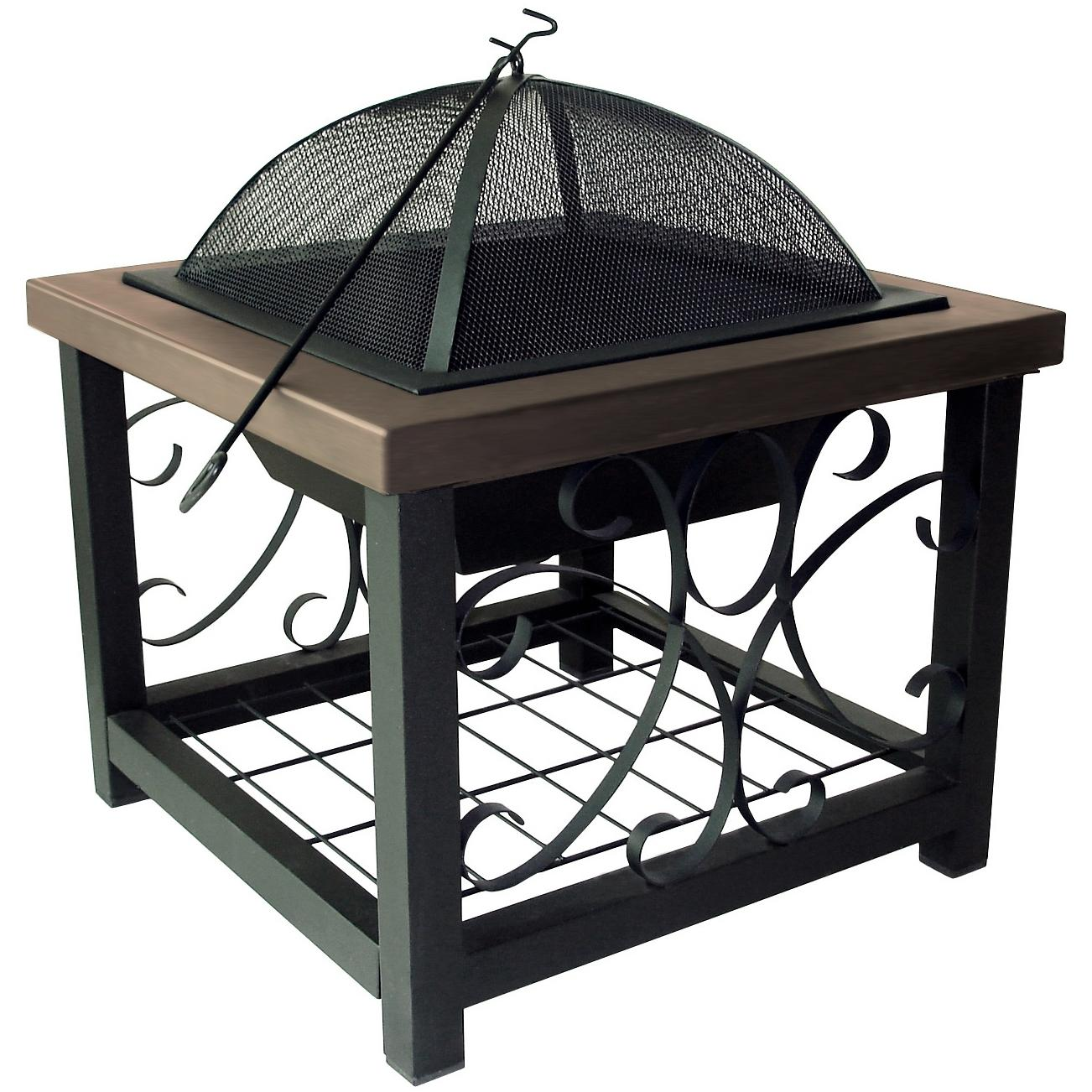 Fire Sense 28-Inch Square Fire Pit Table - Old World Bronze
