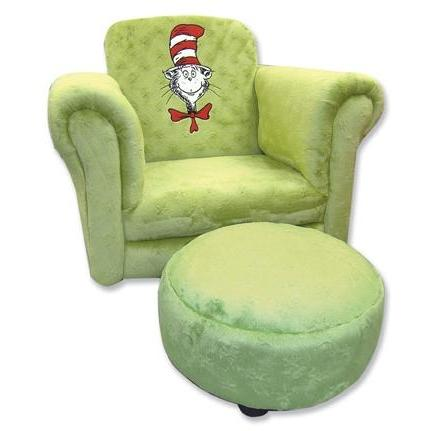 Trend Lab Childs Stuffed Chair And Ottoman - Dr Seuss Avocado Velour