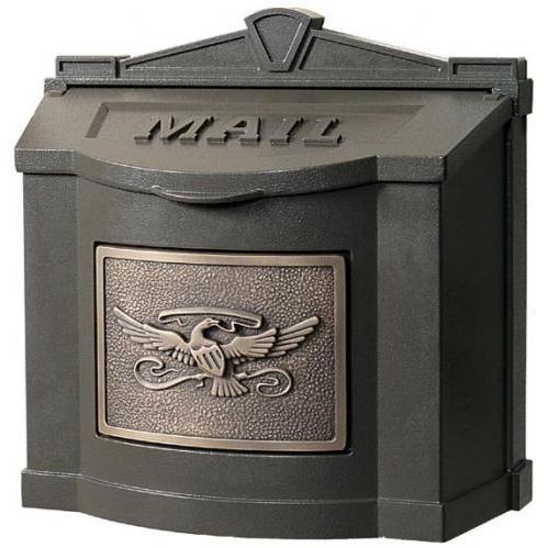 Wall Mount Series Mailbox W/ Eagle Accent - Bronze W/ Antique Bronze