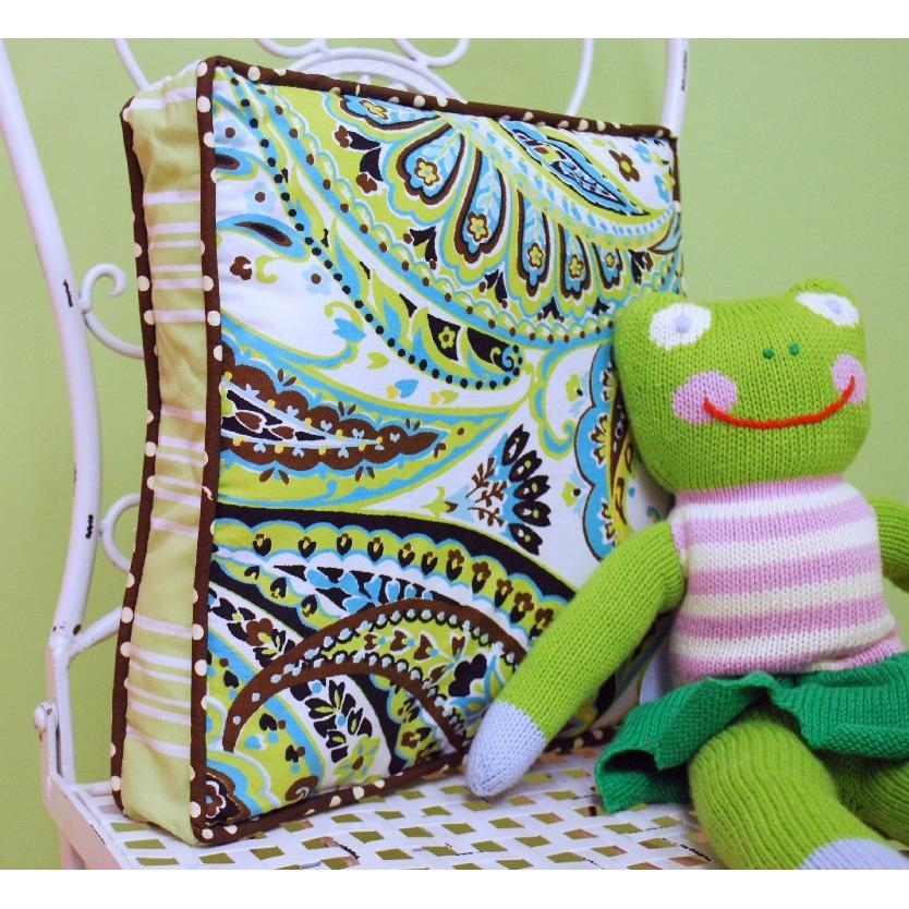 My Baby Sam Throw Pillow - Lime Paisley Splash