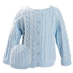 Elegant Baby Cable Knit Sweater And Hanger Set 12 Months - Blue
