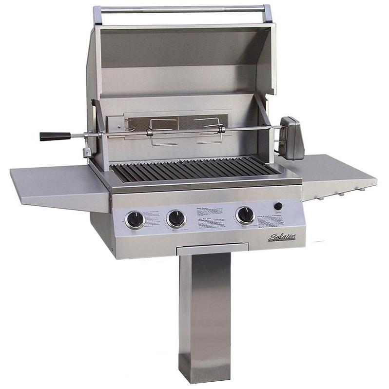 Solaire Gas Grills 27 Inch Deluxe All Convection Propane Grill With Rotisserie On In-Ground Post 2703780