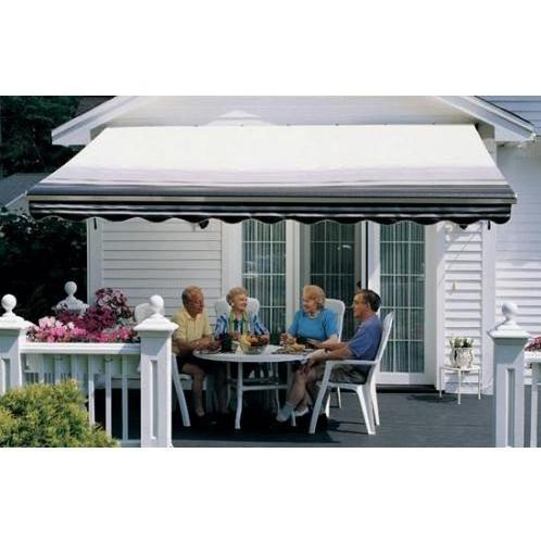 Sunsetter Pro Motorized Awning (11 Ft / Black Stripe) With Traditional Laminated Fabric With Left Mounted Moter And Soffit Bracket