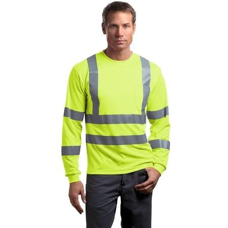 CornerStone ANSI Class 3 Long Sleeve Snag-Resistant Reflective T-Shirt 2XL - Safety Yellow