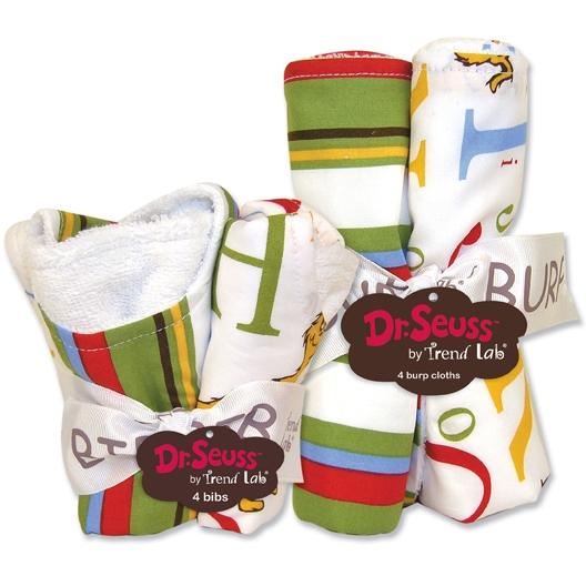 Trend Lab Bib And Burp Cloth Set - Dr Seuss ABC