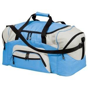 Port & Company Colorblock Sport Duffel Bag - Carolina Blue/Grey