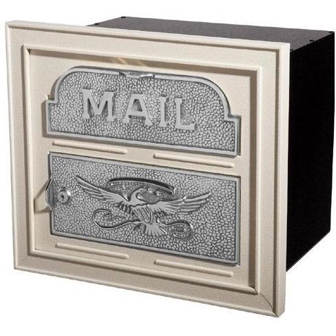 Classic Series High Security Locking Column Mailbox Faceplate - Almond W/ Satin Nickel