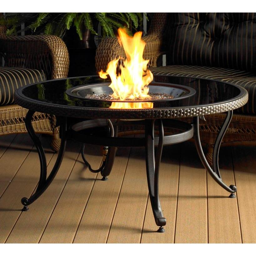 Outdoor GreatRoom Company 42 Inch Chat Fire Pit Table With Black Glass Top - Propane