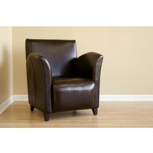 Dark Brown Full Leather Club Chair (Set Of 2).