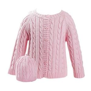 Elegant Baby Cable Knit Sweater And Hanger Set 12 Months - Pink