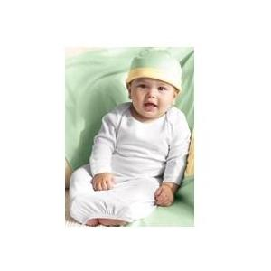 Bella Baby 1x1 Rib Long Sleeve Infant Sleeper 12 Months - White