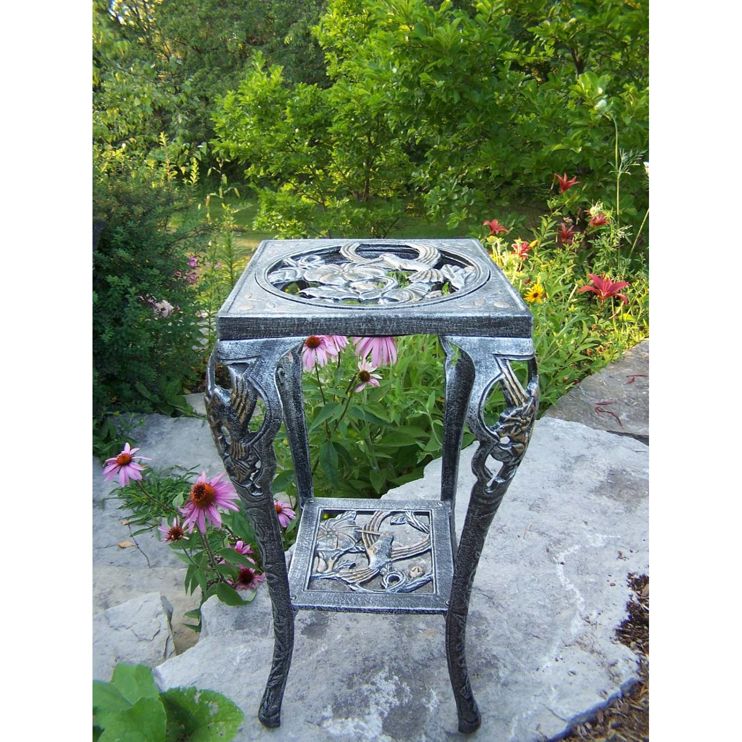 Oakland Living Hummingbird Table Plant Stand - Antique Pewter