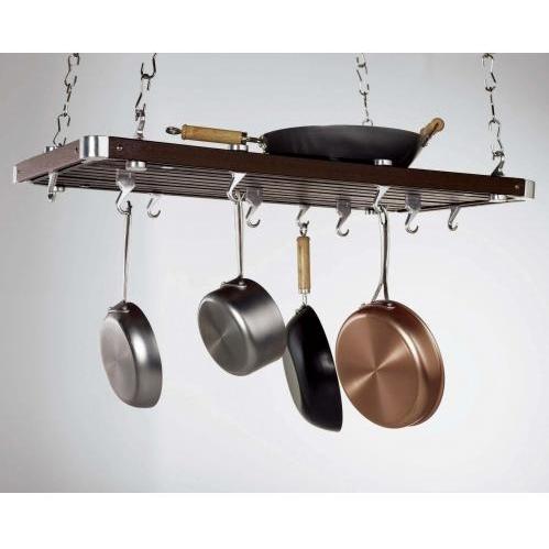 Concept Housewares CP49232 Espresso Wood Rectangular Ceiling Kitchen Rack
