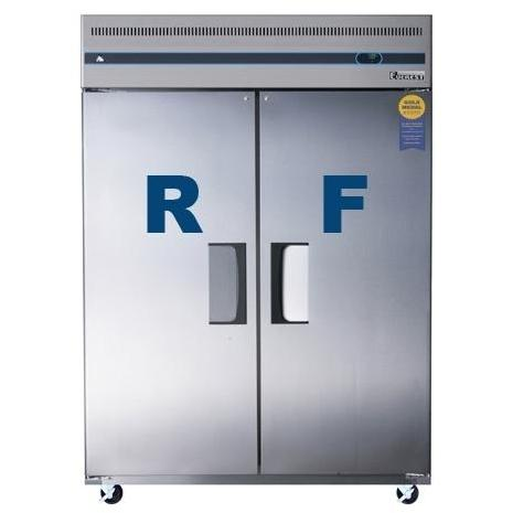 Everest ESWRF2 52.0 Cu. Ft. Capacity Wide Dual Solid Door Upright Reach-In Refrigerator & Freezer Combo - Stainless Steel