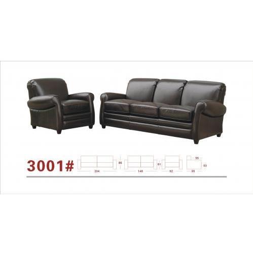 Sinead Leather 3-pcs Sofa Set In Dark Brown