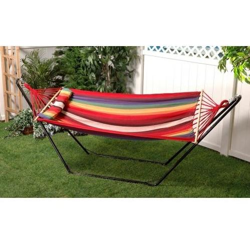 Bliss Hammocks Tequila Sunrise With Pillow - Rainbow/White Stripe