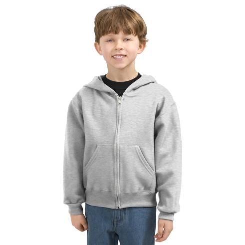 Jerzees Youth Full-Zip Hooded Sweatshirt Large - Ash