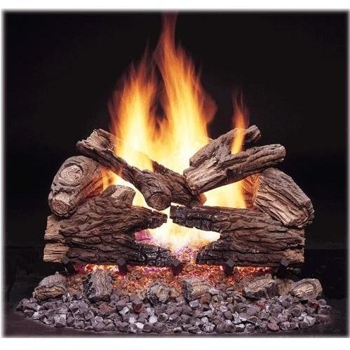 Monessen Gas Logs 18 Inch Massive Oak See-Thru Vented Propane Gas Log Set - Millivolt On/Off Remote Ready
