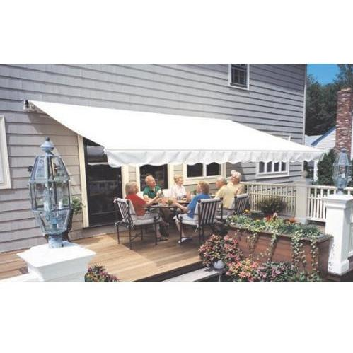 Sunsetter Pro Motorized Awning (18 Ft / Solid Cream) With Traditional Laminated Fabric With Right Mounted Motor And Wall Bracket