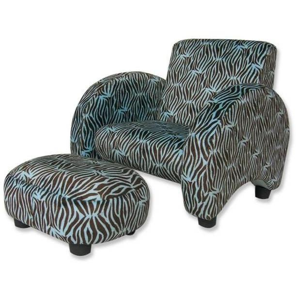 Trend Lab Childs Stuffed Chair And Ottoman - Blue Zebra Velour