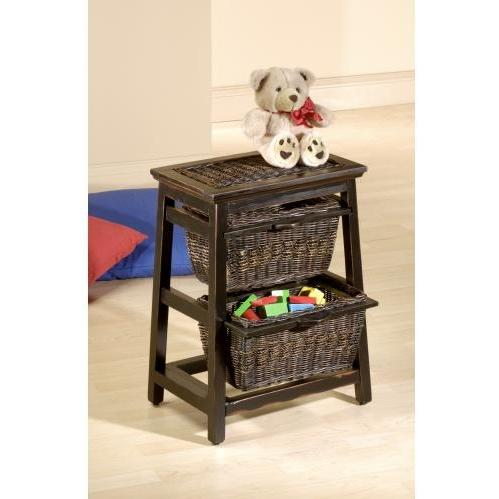 Hillsdale 2 Basket Stand - Triangle Wood And Wicker - Black - 50340