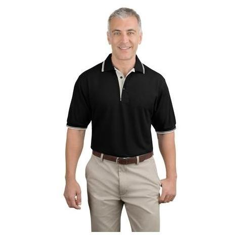 Port Authority Silk Touch Polo Shirt With Stripe Trim 3XL - Black/Winter White