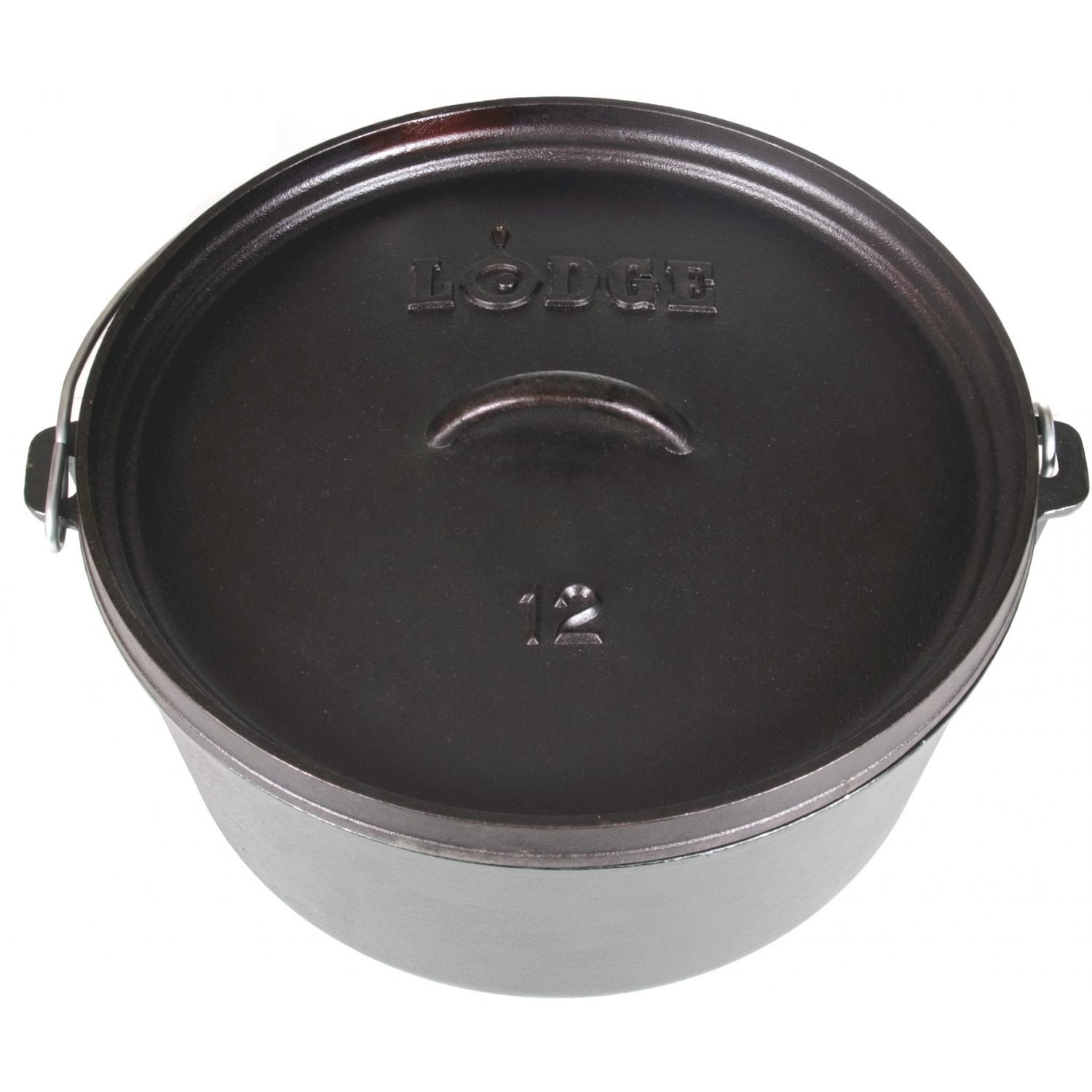 Lodge Dutch Ovens 8 Quart Seasoned Camping Cast Iron Dutch Oven - L12DCO3