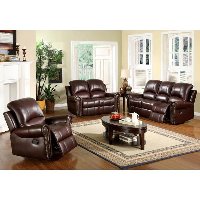 Picture of Abbyson Living Broadway Reclining Italian Leather Sofa And Chair Set - CH-8811-BRG-31