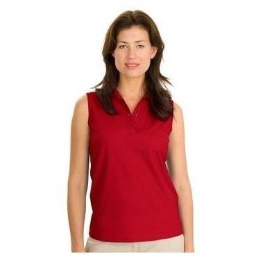 Port Authority Ladies Silk Touch Sleeveless Polo Shirt Medium - Red 2467829